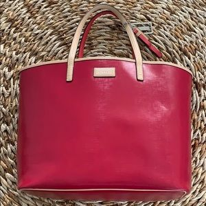 Coach Large Metro Patent Leather Tote in red/beige